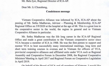 Condolences message from President of VCA about the passing of Mr. Sethu Madhavan- Advisor- Planning & Membership, ICA- AP regional Office