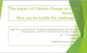 Paper to be submitted to the 19th Annual meeting of the Asian Farmers Group for Cooperation by President Independent Farmers Network Sri Lanka.
