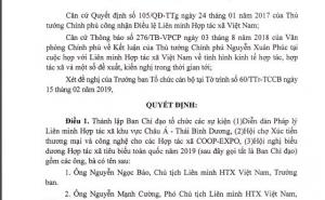 VCA ban hành 04 Quyết định thành lập BCĐ, Ban TC về Diễn đàn pháp lý; Hội chợ XTTM và công nghệ HTX; Hội nghị biểu dương HTX tiêu biểu toàn quốc năm 2019