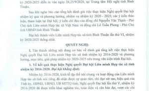 Nghị quyết Đại hội Liên minh HTX tỉnh Bình Thuận nhiệm kỳ 2020 – 2025