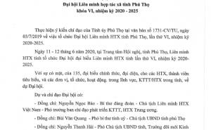 Nghị quyết Đại hội Liên minh HTX tỉnh Phú Thọ khóa VI nhiệm kỳ 2020 - 2025